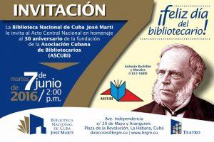 Invitación al Acto Central por el dia del Bibliotecario